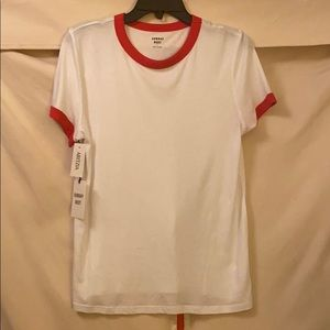 Aritzia Sunday Best white tee red accents cute!
